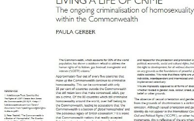 LIVING A LIFE OF CRIME: The ongoing criminalisation of homosexuality within the Commonwealth